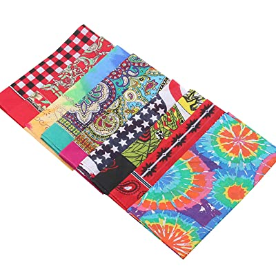 9pcs Woman Bandana, 22X22in 100% Cotton,Print Paisley Bandanas Party Favor Scarf Headband Handkerchiefs: Clothing