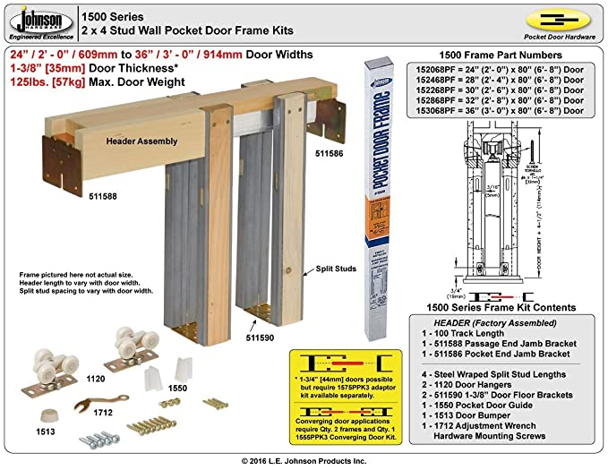 Johnson Hardware 1500 Series Pocket Door Frame Kit (28\