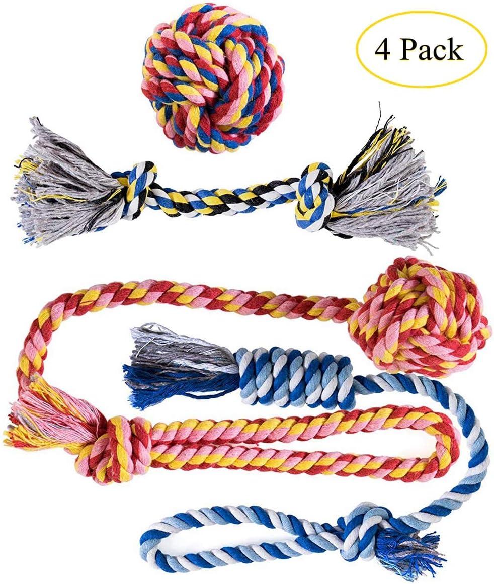 Ksnnrsng Cuerda de Juguete para Masticar para Perros Juguetes para morder para Cachorros Cuerdas de algodón Lavables Juguetes para Perros pequeños a medianos Juguetes (4 Pack): Amazon.es: Productos para mascotas
