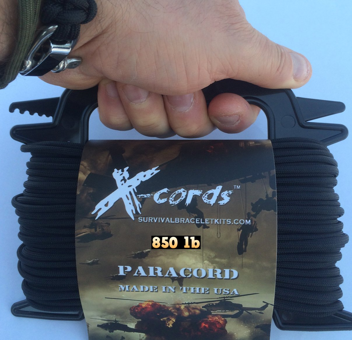 X-CORDS Paracord 850 Lb Stronger Than 550 and 750 Made by Us Government Certified Contractor (100' Black ON Spool) by X-CORDS (Image #3)