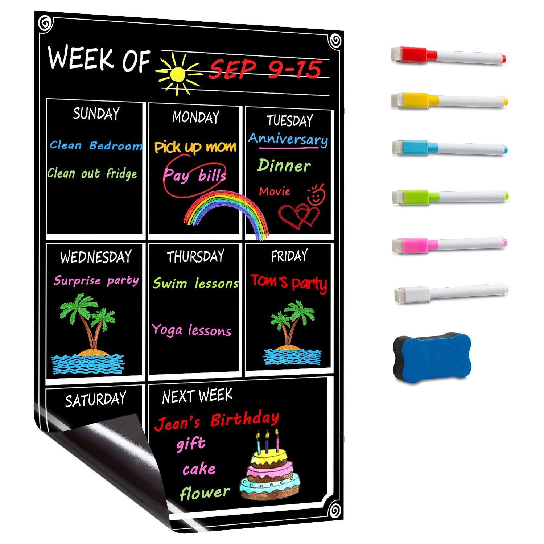 DOEWORKS 17x11 Magnetic Dry Erase Weekly Calendar for Fridge, Magnetic Chalkboard Menu with 6 Markers & Eraser