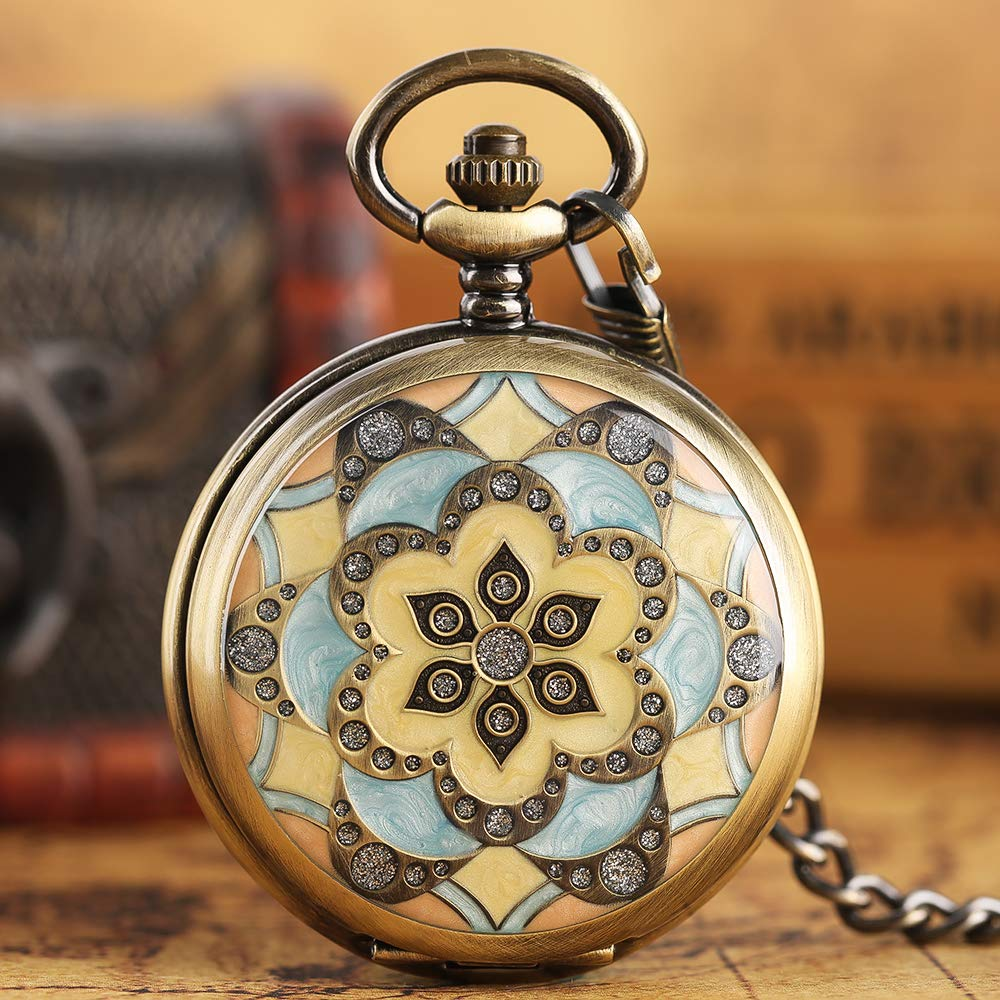 Creative Pocket Watch, Mechanical Hand Winding Pocket Watch, Gifts for Men Women by mygardens (Image #2)