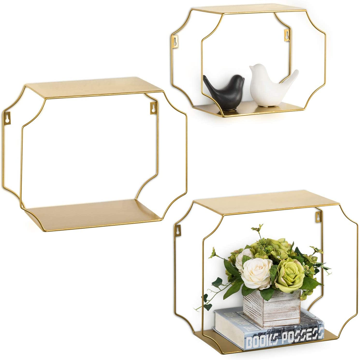 MyGift Vintage Brass Tone Wall-Mounted Decorative Metal Floating Shelves, Set of 3