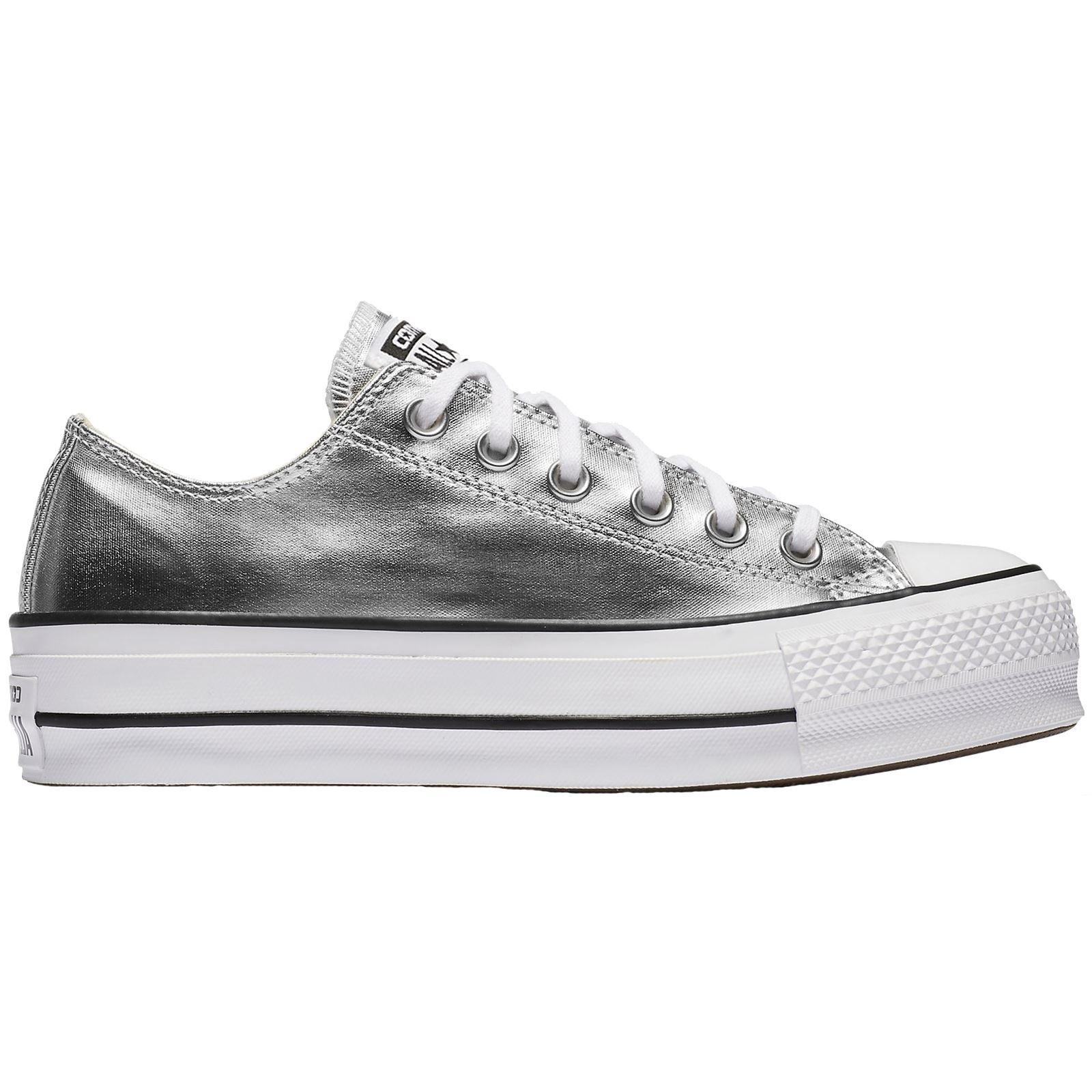 Converse Womens Chuck Taylor All Star Lift Low Top SilverBlackWhite Sneaker 9