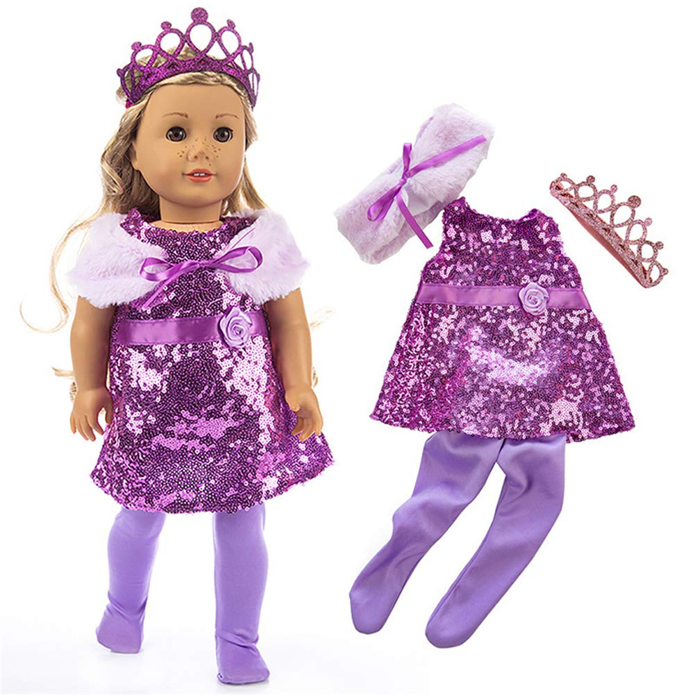Purple Princess Dress with shoes and CROWN NO DOLL MY TWINN clothes
