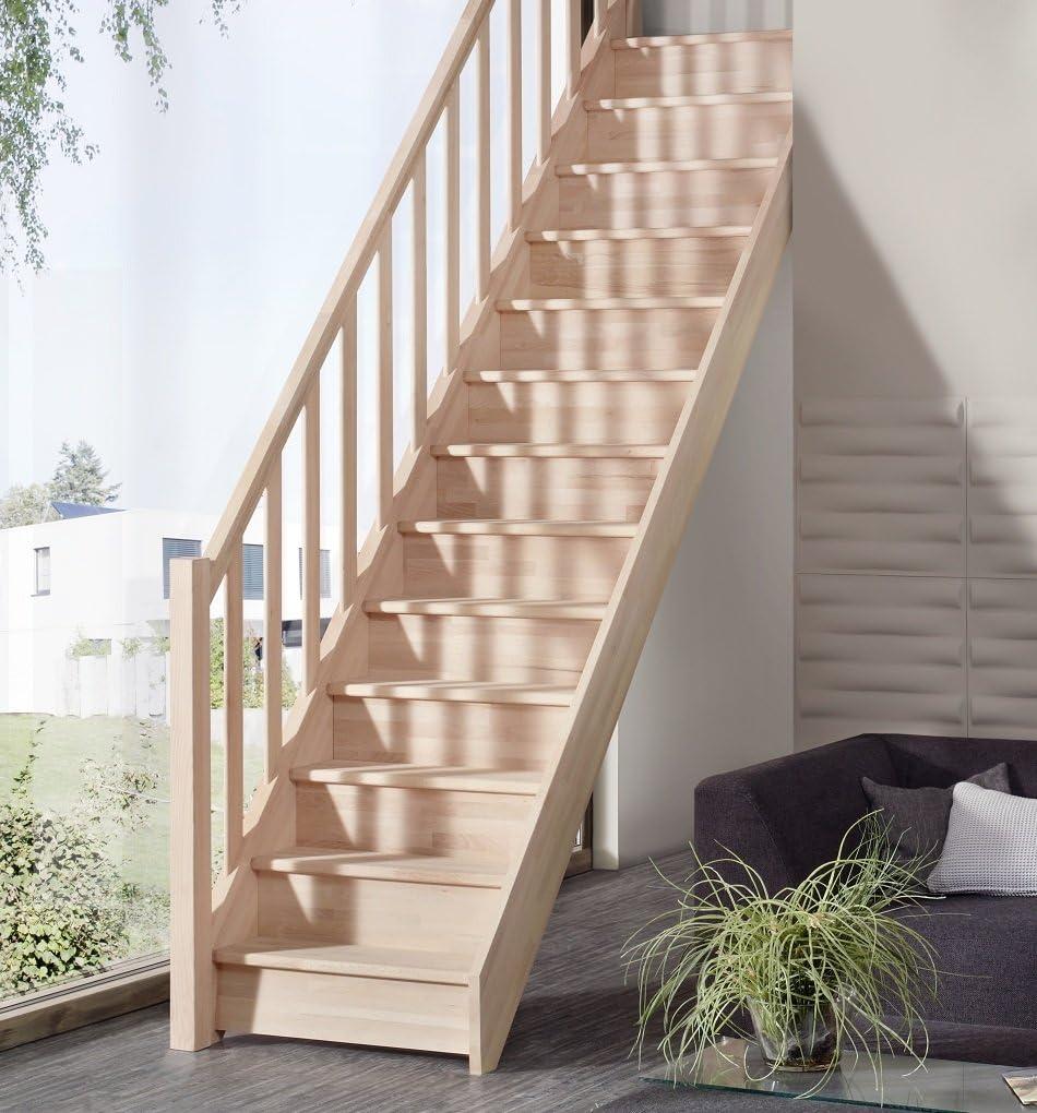 Ahorro de espacio escaleras casa blanca Intercon de madera maciza con las columnas barandilla de madera de haya de madera/de madera de abeto: Amazon.es: Bricolaje y herramientas
