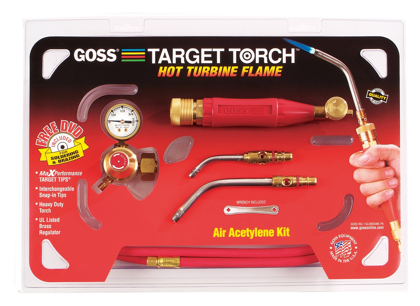 Goss KX-4B Soldering Brazing Torch Kit for B Acetylene Tanks with GA-5 and GA-14 Target Tips and Hot Turbine Flame by Goss B002E8A5A6