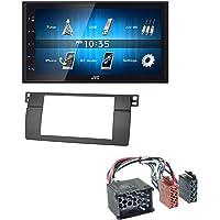 caraudio24 JVC KW-M24BT 2DIN Bluetooth MP3 AUX USB Autoradio für BMW 3er E46 mit großem Navi Rundpin Profiversion