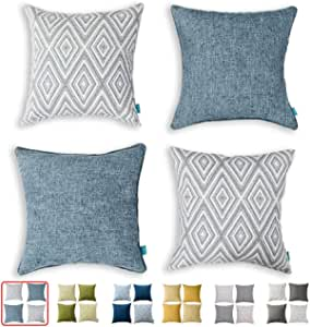 Hpuk Decorative Throw Pillow Covers Set Of 4 Geometric Design Linen Cushion Cover For Couch Sofa Living Room 17 X17 Inches Blue Home Kitchen Amazon Com