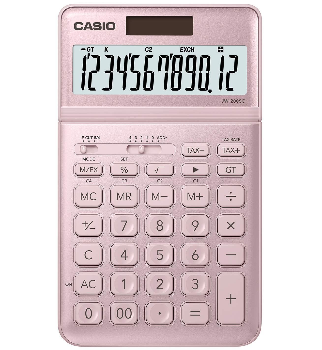 CASIO JW-200SC 12-Digit Calculator, Tax & Exchange, Dual Powe Professional Percentage Calculation (Pink)