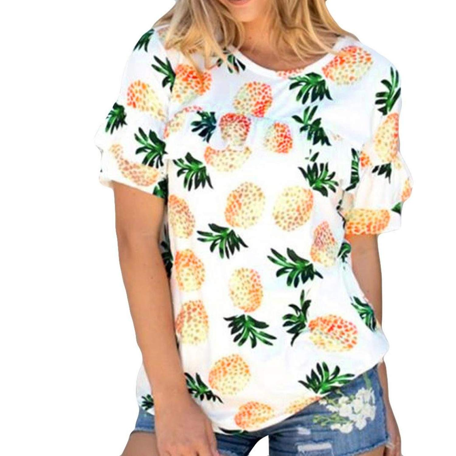 ad7c981f3 Women Short Sleeve Pineapple Printing Crop Top T-Shirt Tops Tee for Summer,  White-4, X-Large at Amazon Women's Clothing store: