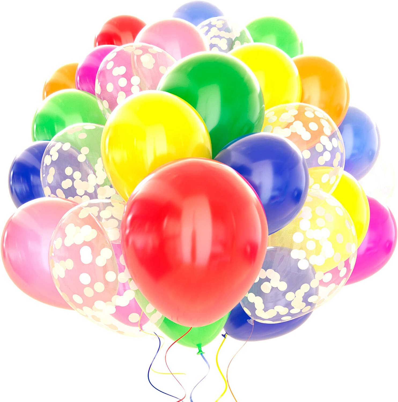 Dandy Decor Rainbow Balloon 120 Pack - 12 inch Confetti Balloons w/ Ribbon   Birthday Balloons  