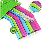 Walfos Reusable Silicone Straws - Extra Long Flexible Drinking Straws for Smoothies/20 & 30 oz Tumblers, Yeti/Rtic/Ozark, BPA