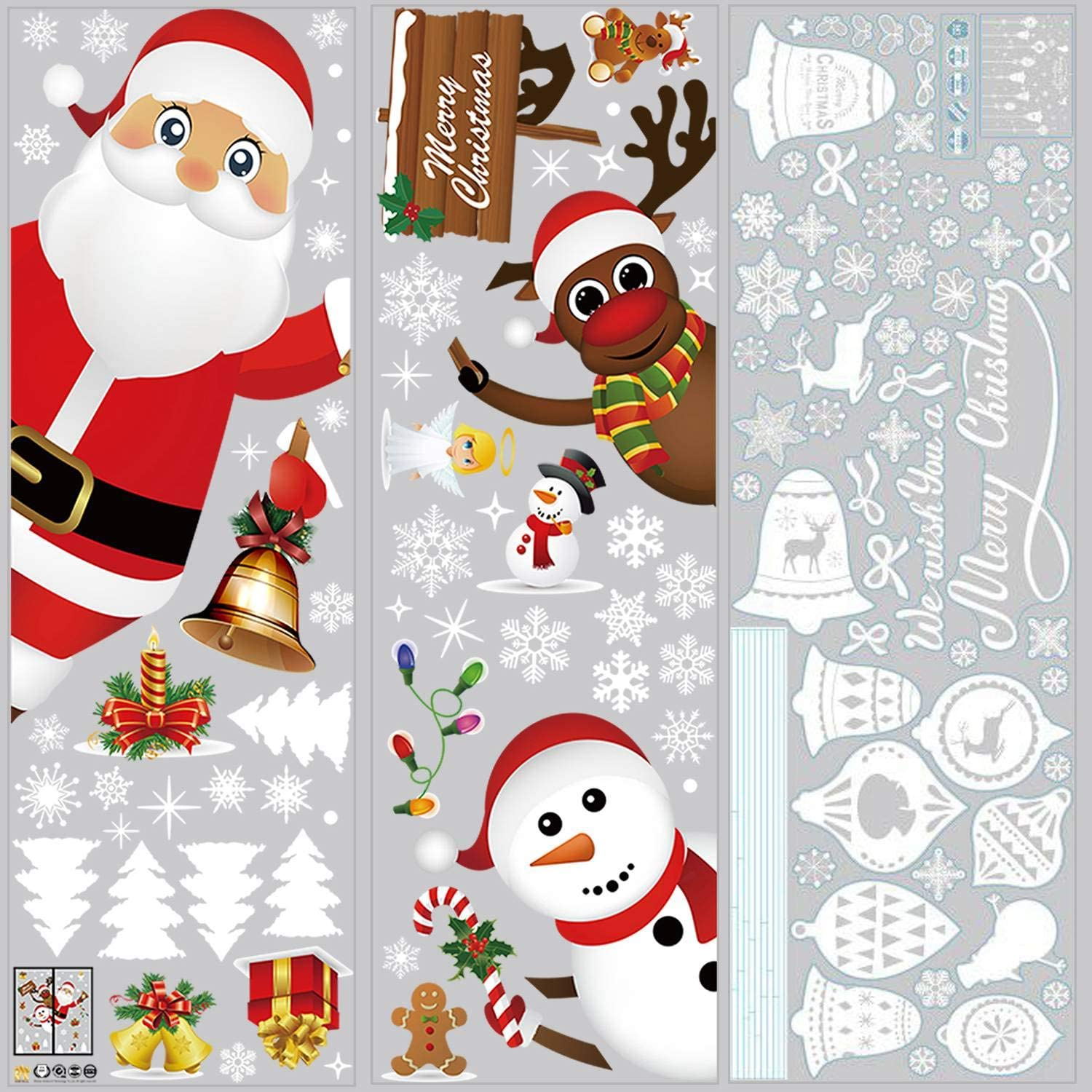 MOONCASE Christmas Window Stickers, 120 Pcs Snowflake Bell Santa Claus Reindeer Snowman Christmas Decoration Mirror Glass Door Window Decals Home Decor for New Years Party Decoration