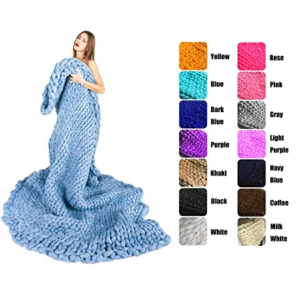 e543d07112d Amazon.com  EASTSURE Bulky Knit Throw Chunky Sofa Blanket Hand-Made ...