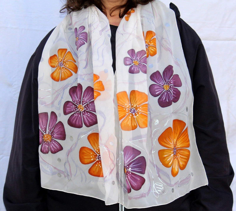 Amazon Com Batik Fashion Silk Painting Ideas Gift For Her Hand Painted Orange Purple Flowers Scarf Wife Floral Design Garden Woman Gardener Handmade