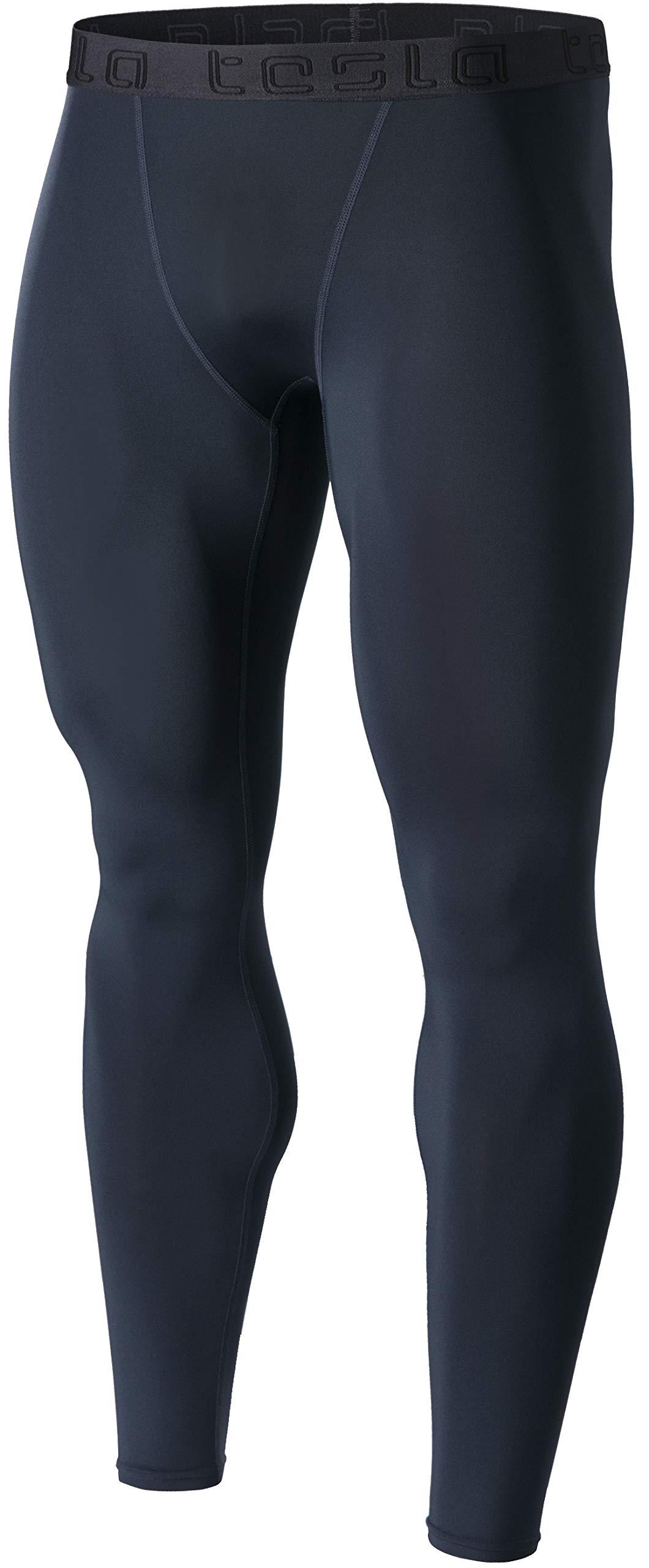 TSLA Men's Compression Pants Running Baselayer Cool Dry Sports Tights, Basic(mup09) - Charcoal, Medium by TSLA