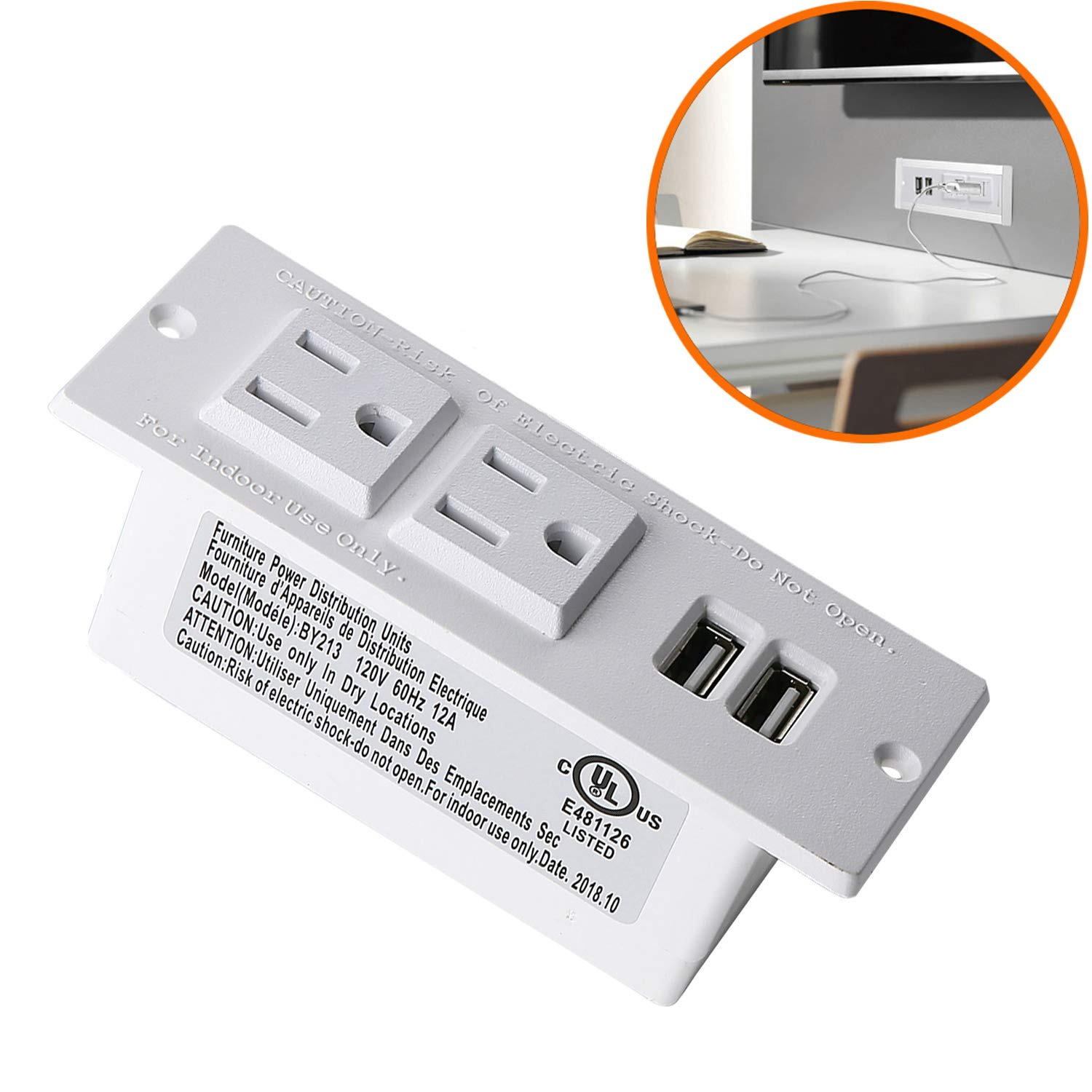 Desktop Power Strip with USB for Furniture, Desk Recessed Power Grommet Socket, 2 AC Outlets & 2 USB Ports & 6.56ft Power Cord (White)