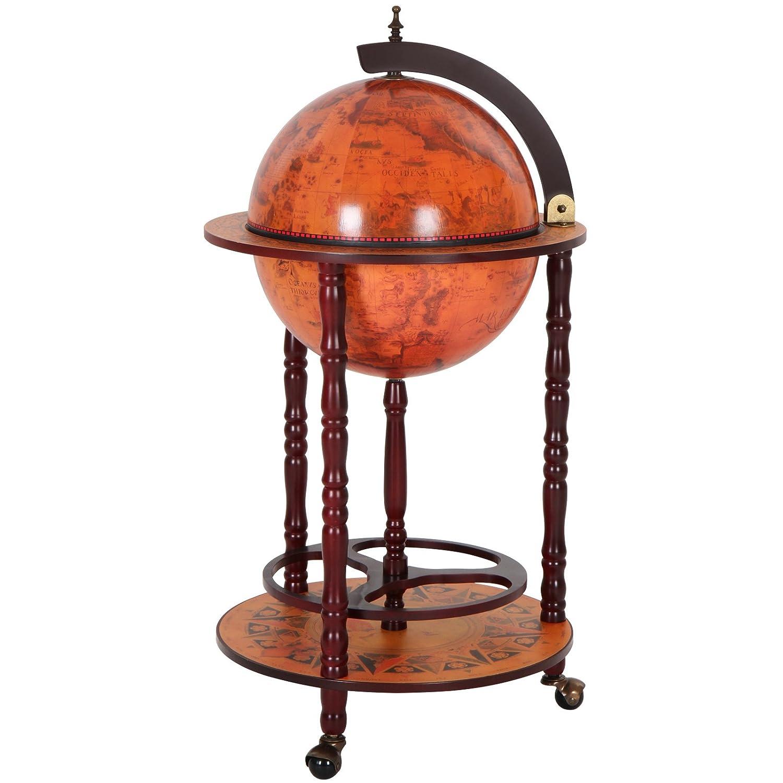 Jago/ motivo mappamondo /Bar Globe porta bottiglie e bicchieri in legno con ruote