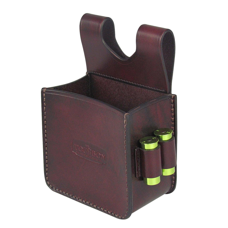 Tourbon Cuir Taille Sac de munitions de tir /Étui en Coquille avec 2 Bullet Loop