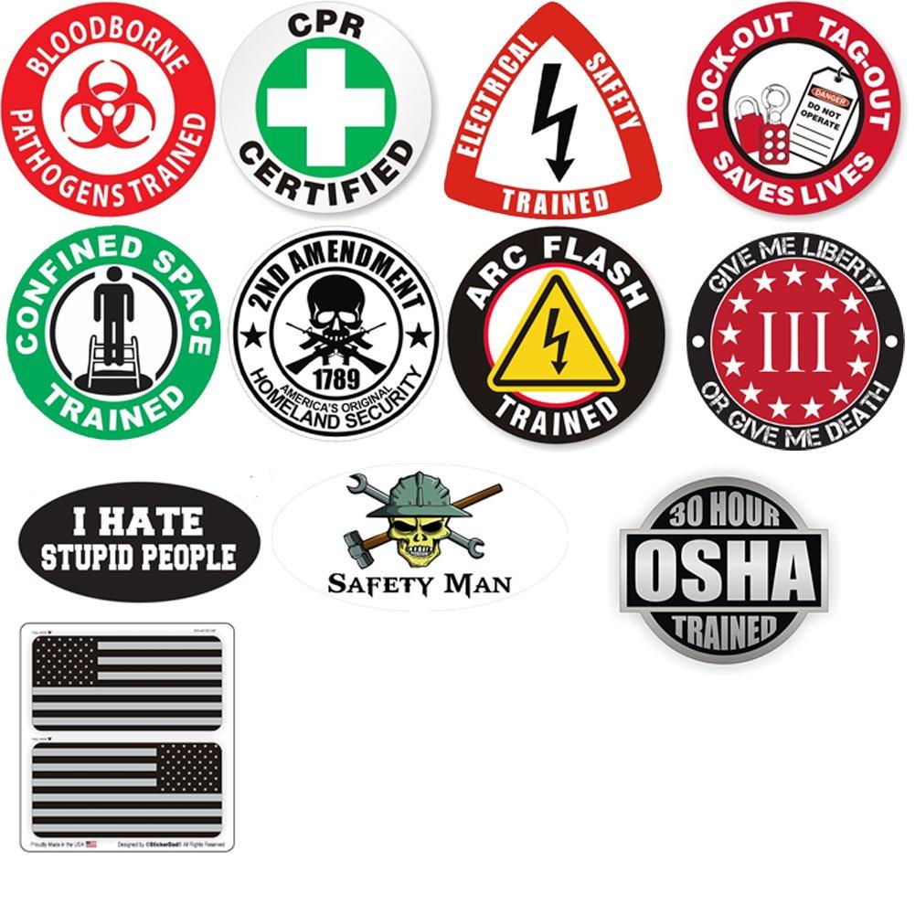 Helmet Sticker BUNDLE 21918 (12 Stickers Included) Full Color Printed by StickerDad - Hard Hat, Helmet, Windows, Walls, Bumpers, Laptop, Lockers, etc.
