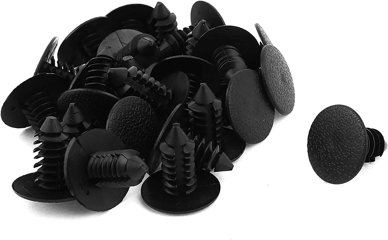 25 Pcs Black Push in Motor Bumper Fender Door Rivets Clip 9mmx17mm