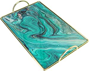 Marble Pattern Tray Mirror, Organiser Metal Cosmetic Holder Plate Fruit Desktop Tray Plate, Hold Perfume Jewelry Makeup Bedroom Magazine, 35x23x4.7 cm,Green