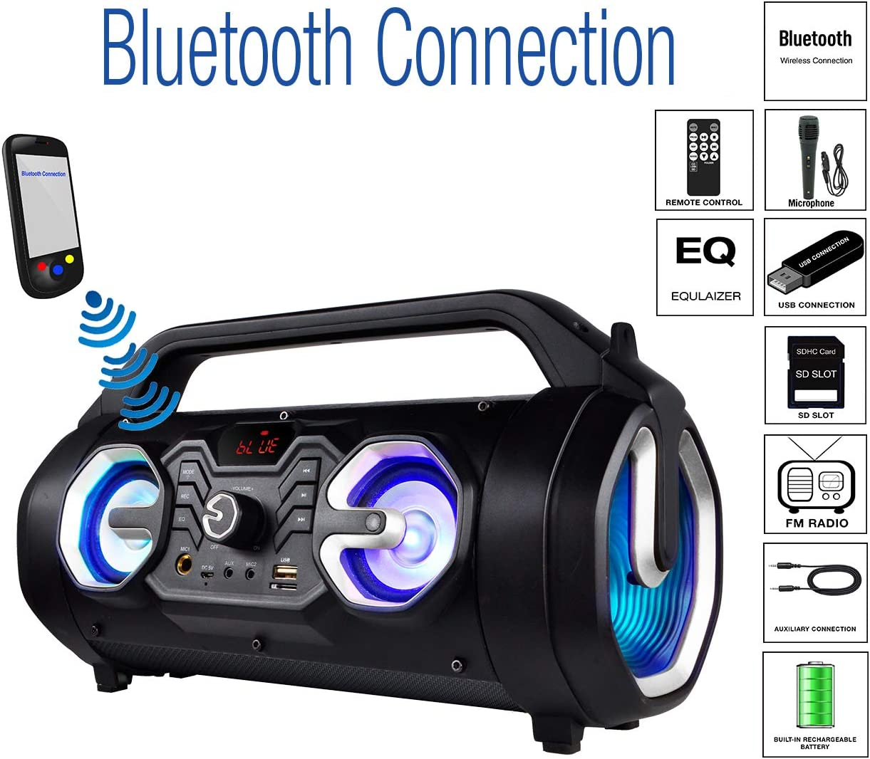 """Boytone BT-16S Portable Bluetooth Boombox Speaker, Indoor/Outdoor, 25W, Loud Sound, Deeper Bass, EQ, 5"""" Subwoofer, 2 x 3 Tweeter, FM, 9H Playtime, USB, Micro SD, AUX, Microphone, Recording, LED Light"""