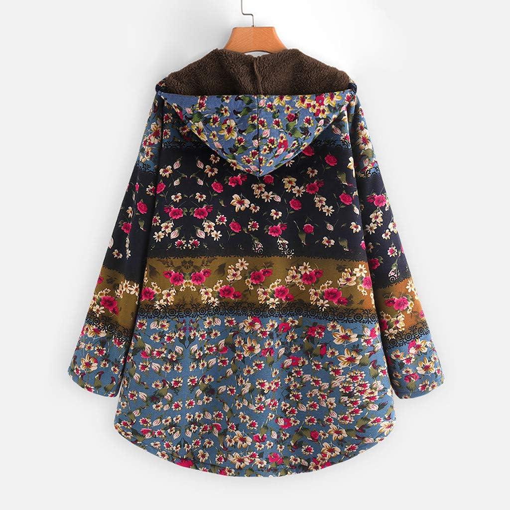 VECDY Womens Winter Warm Fashion Trend Wild Coat Floral Print Casual Hooded Zipper Pocket Retro Oversized Jacket Streetwear