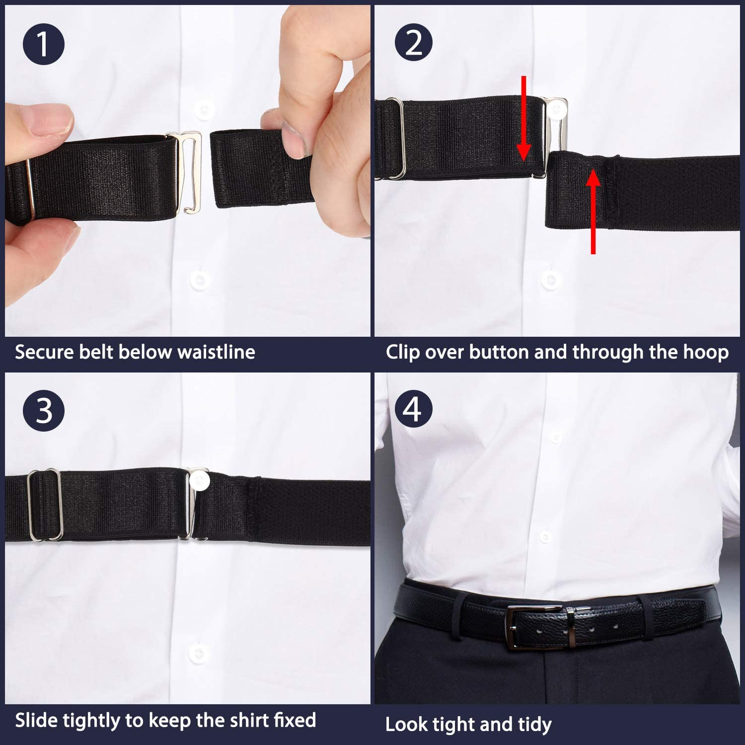 2.0 x 120 cm// 0.8 x 47.2 inch 2 Pieces Elastic Shirt Stay Belts Underwear Adjustable Shirt Holder White Black