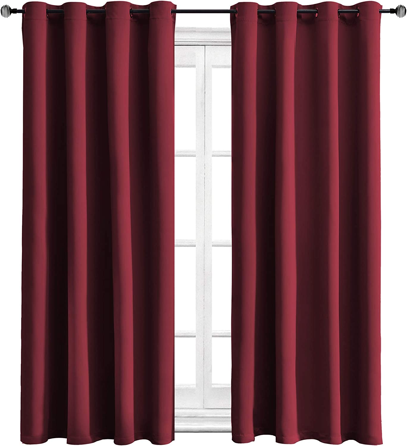 WONTEX Blackout Curtains Thermal Insulated with Grommet for Bedroom, 52 x 63 inch, Burgundy, 2 Curtain Panels