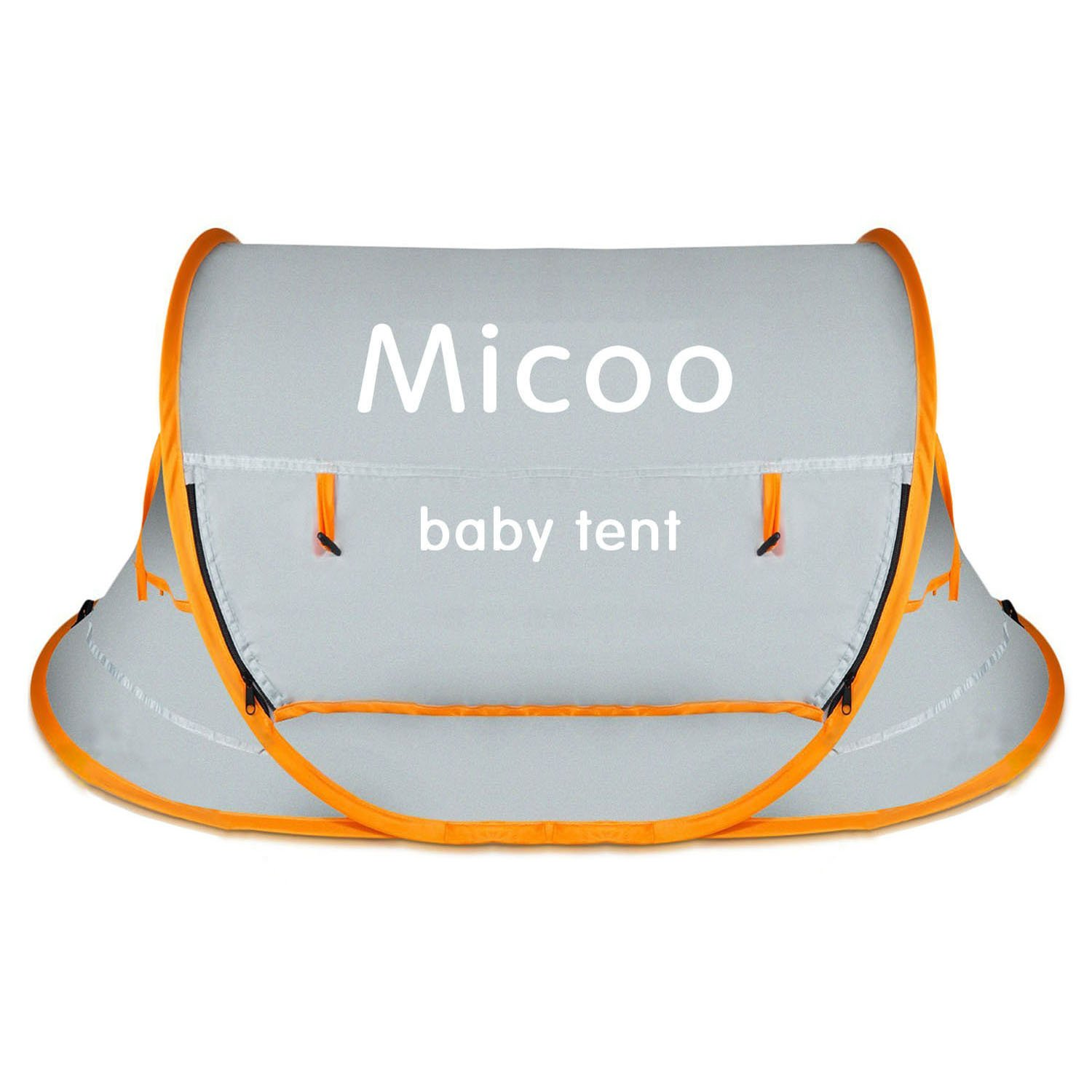 Micoo Baby Travel Tent, Portable Beach Tent UPF 50+ Sun Travel Pop up Folding Cribs Tent Mosquito Net Infant Beach Gear UV Protection with 2 Pegs