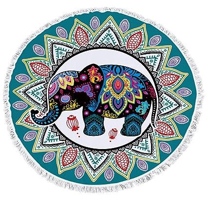 Sticker Superb Bohemia Elefante Estilo de Dibujos Animados Toalla de Playa Redonda,Motivo Indio Manta