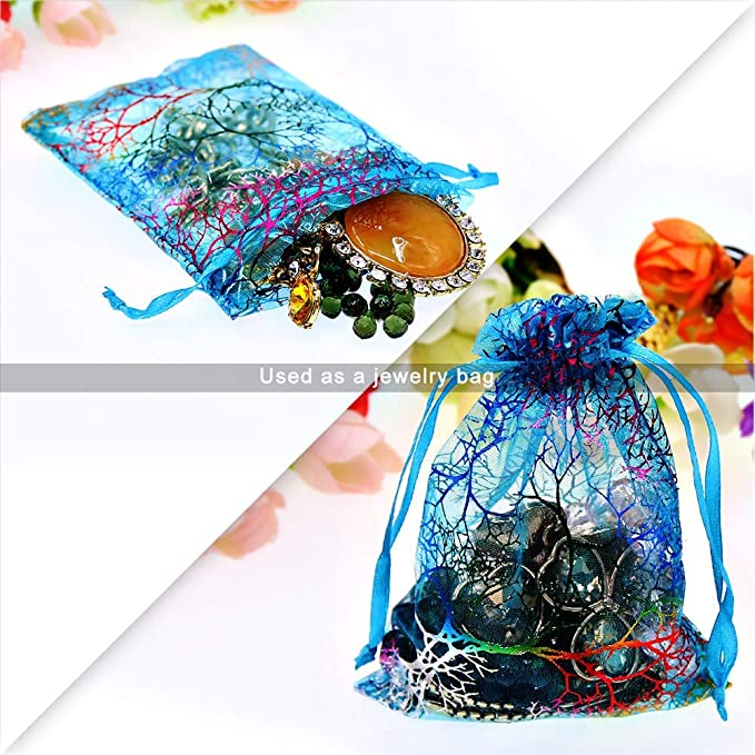 Coralline Pattern Candy Chocolate Party Christmas Wedding Favor Gift Bags,3.5x4.7inches 100Pcs Blue Organza Drawstring Bags Jewelry Pouches Mixed color,3.54 * 4.72 inch