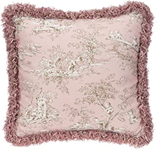 product image for Glenna Jean Maddie Pillow, Pink Toile with Fringe