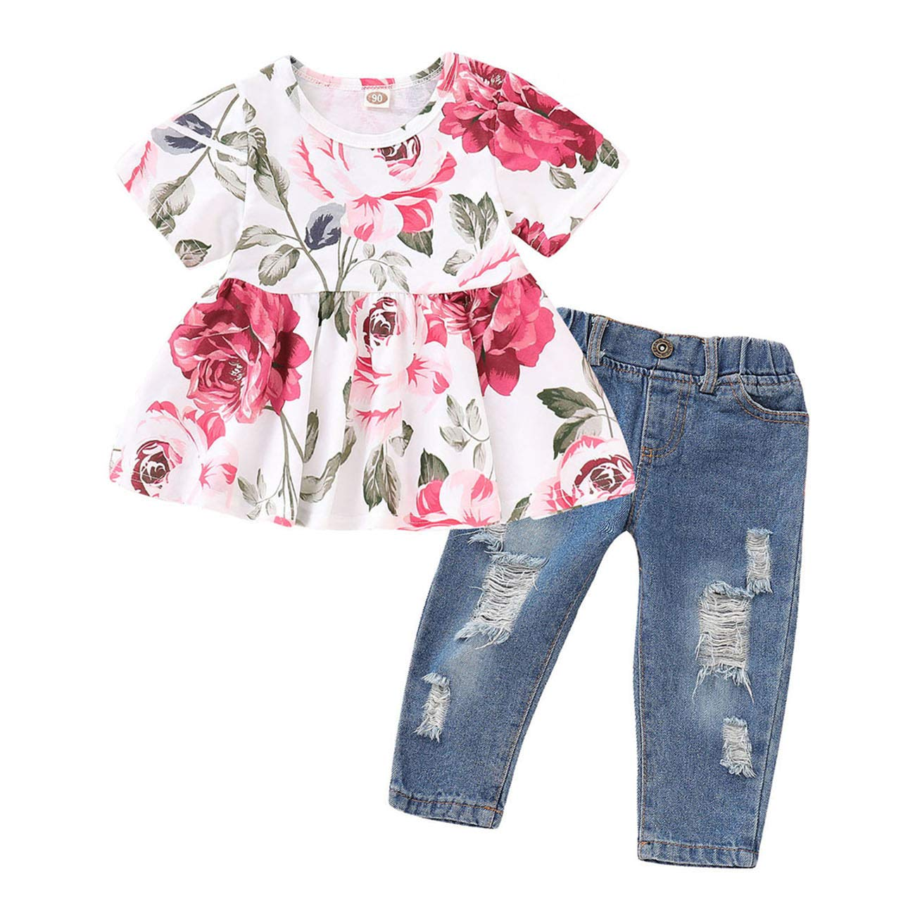 FCQNY Kids Girls Short Sleeve Floral Pleated Tee Tops+Ripped Jeans Pants Set 2Pcs