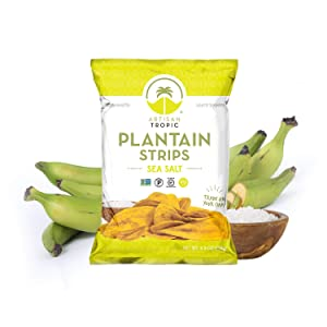 Artisan Tropic Plantain Strips - Your Tasty and Healthy Snack Alternative - Paleo, Gluten Free, Vegan, Non-GMO - Made With Sustainable Palm Oil and No Added Sugar (Sea Salt, 4.5 oz 2 pack)