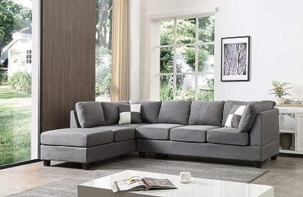 Zikra Lifestyle Solutions Solid Wood Fabric L Shape Sofa Set ...