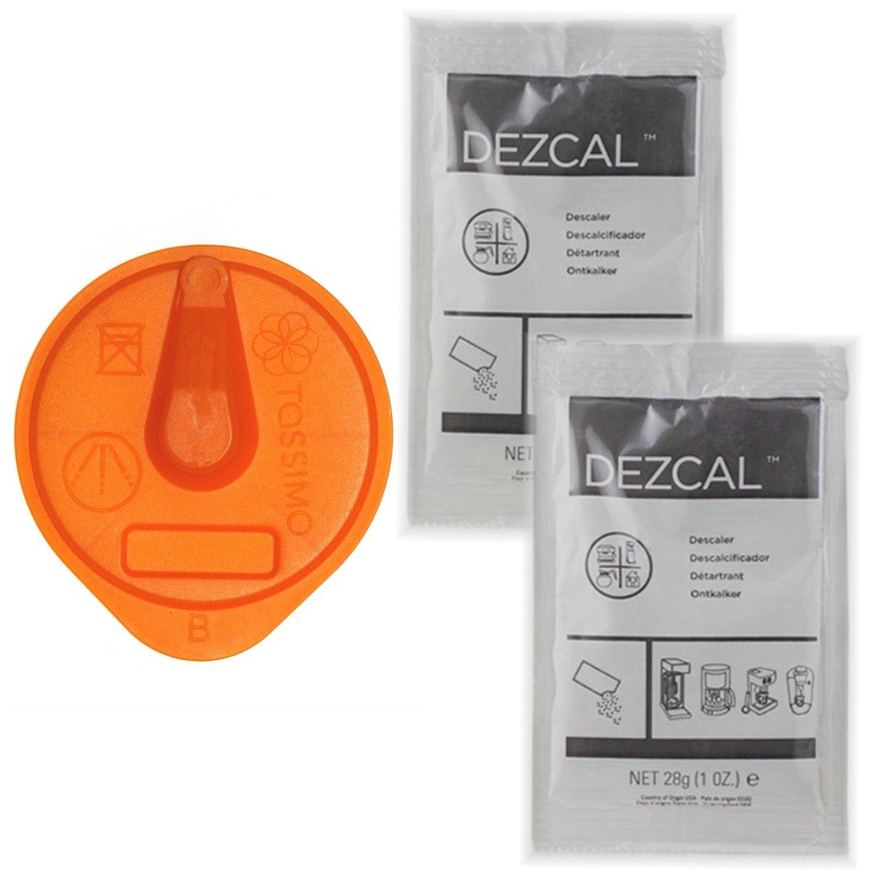 Bosch Tassimo Orange Cleaning Disc + 2 Packs Dezcal Descaler for use on T55 T47 T43