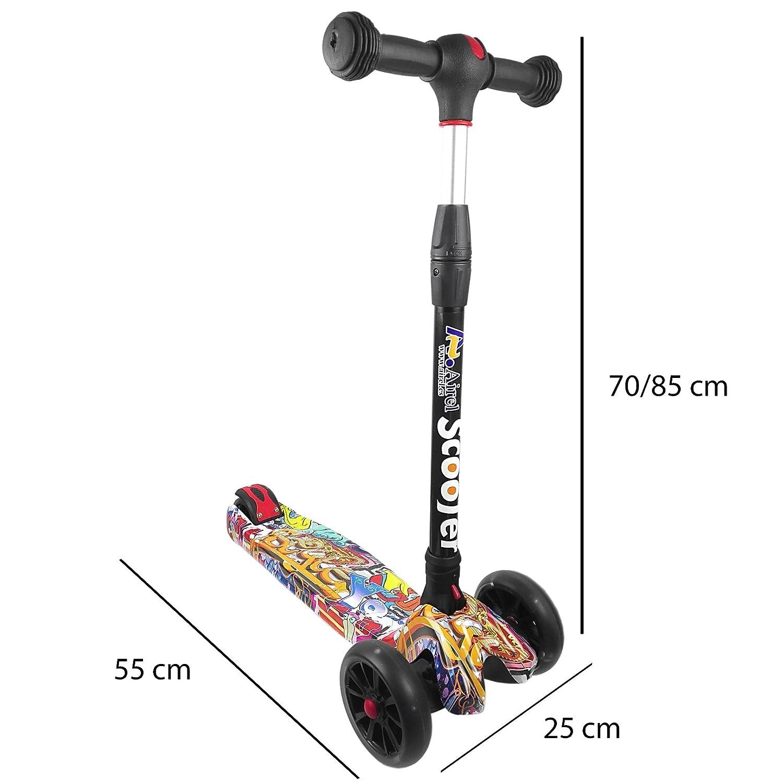 Kenrod Patinete 3 Ruedas para Niños entre 2 y 14 años con diseño Scooter Ruedas Led Sin Pilas Fácil de Plegar