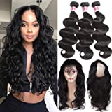 Beauty Princess 360 Lace Frontal with Bundles 8a Brazilian Body Wave Virgin Hair 3 Bundles with 360 Lace Band Frontal Closure with Bady Hair Natural Color.