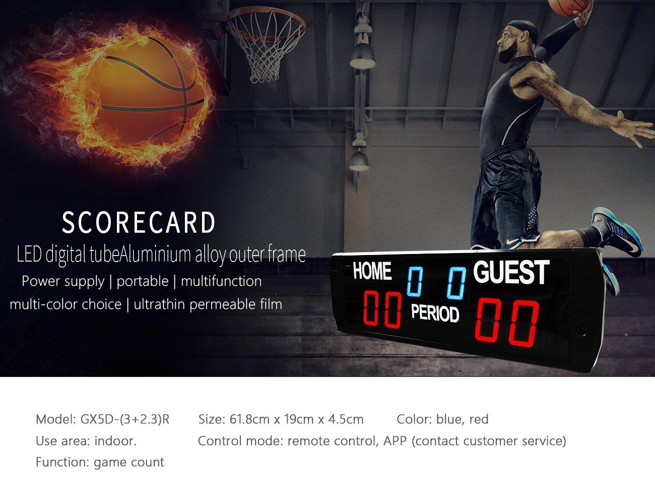 ganxin LED marcador uso en interiores baloncesto/fútbol juego temporizador tamaño: 618mm X 190mm x 450mm LTD