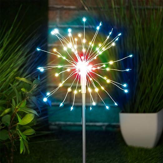 Globrite 120 luces LED solares de estaca para jardín y exteriores, multicolor: Amazon.es: Iluminación