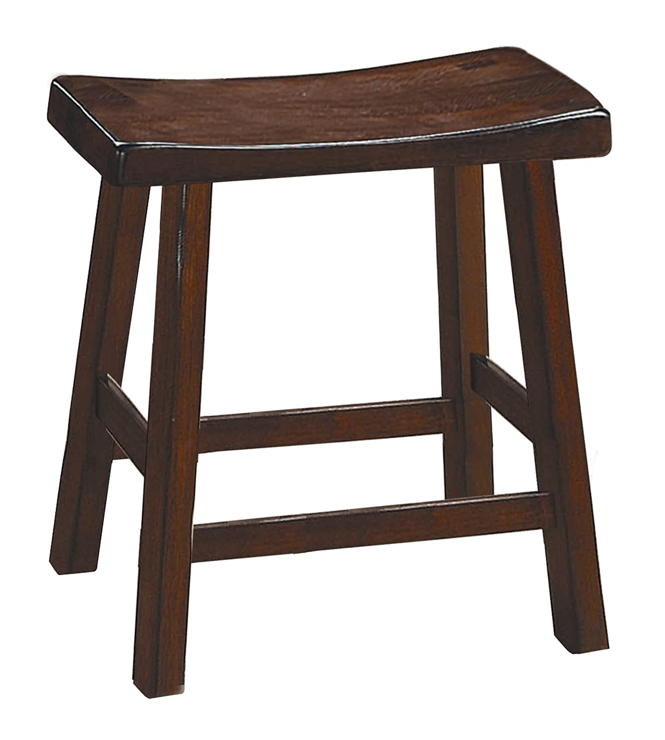Homelegance 5302C-18 Saddleback 18-Inch Height Barstool, Cherry, Set of 2 Home Elegance - DROPSHIP