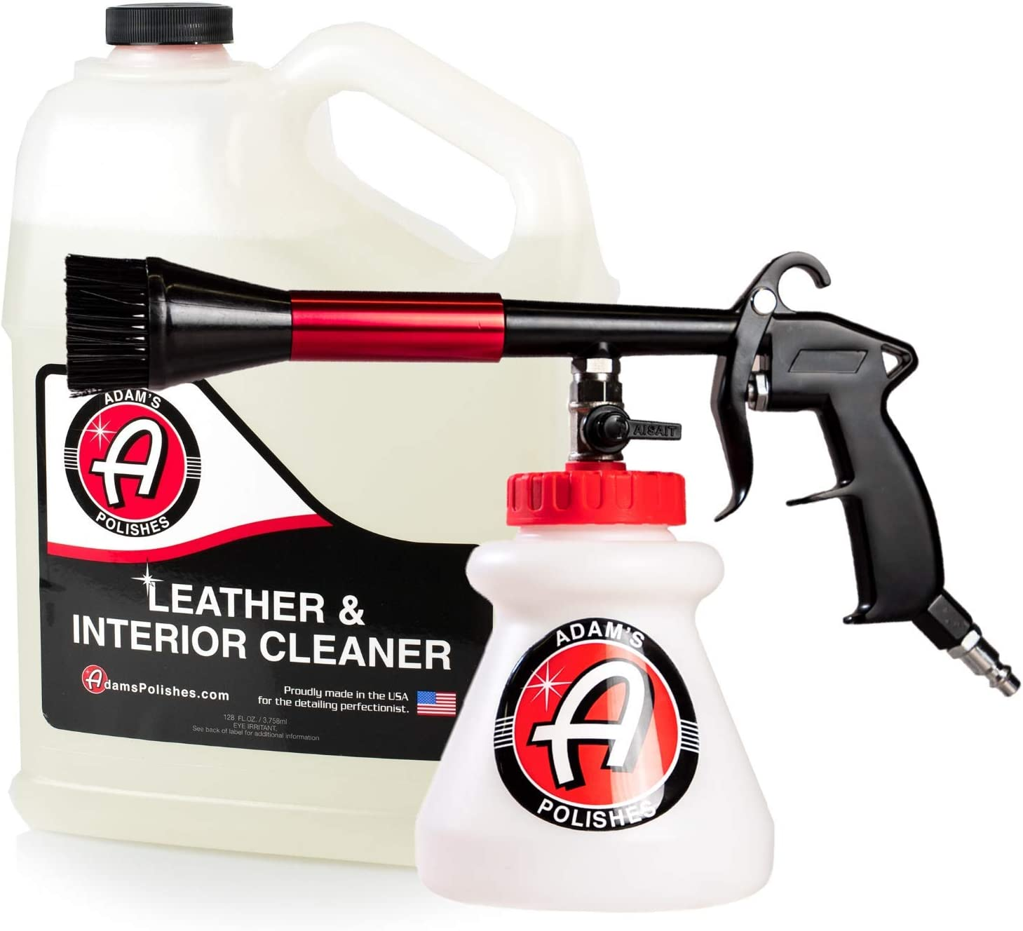Adam's Interior Cleaning Gun - Pressurized, Compressed Air & Cleaning Solutions Deep Cleans Interior Surfaces - Cleanse Your Car Seats, Leather, Floor Mats, Carpet, Upholstery, and More (Combo)