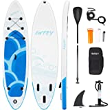 INTEY Inflatable Stand Up Paddle Board (6 Inches Thick) Durable Standing Boat with Great SUP Accessories & Backpack   Wide St