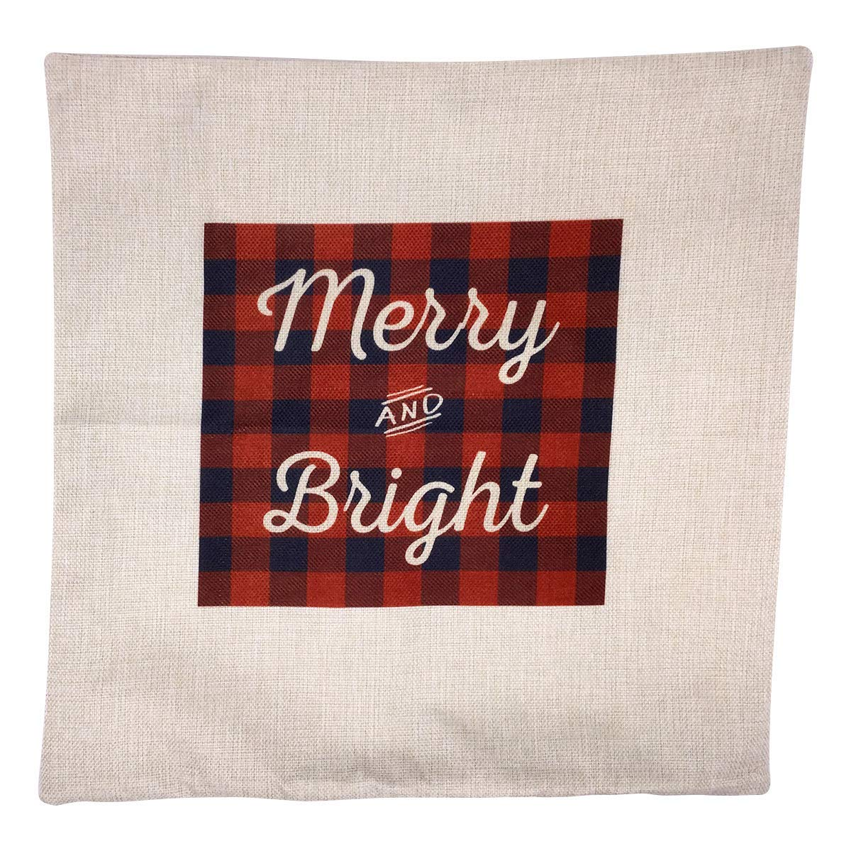 Arundeal 18 x 18 Inch Merry and Bright Red and Black Plaid Christmas Decorative Cotton Linen Square Throw Pillow Cases Cushion Cover