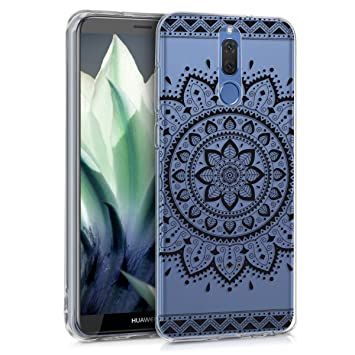 kwmobile Funda para Huawei Mate 10 Lite - Carcasa de [TPU] para móvil y diseño de Flor Azteca en [Negro/Transparente]