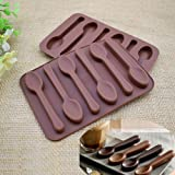 Silicone Spoon Chocolate Mold 6 Cavities Candy Making Molds DIY Specialty Bakeware, 2 Pack Brown