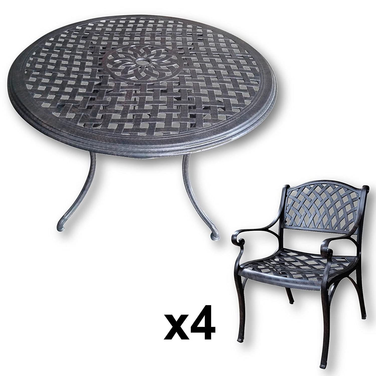lazy susan lily 120 cm runder gartentisch mit 4 st hlen gartenm bel set aus metall antik. Black Bedroom Furniture Sets. Home Design Ideas